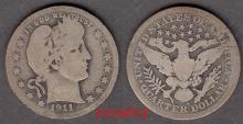 1911-S 25c US Barber silver quarter