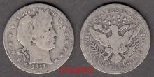 1911 25c US Barber silver quarter