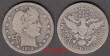 1910-D 25c US Barber silver quarter