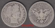 1908 25c US Barber silver quarter