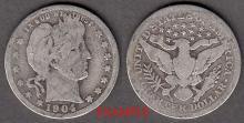 1904 25c US Barber silver quarter
