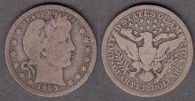 1909-S 25c US Barber silver quarter