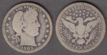 1903-O 25c US Barber silver quarter