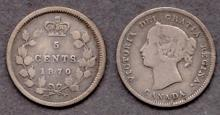 1870 Five Cents Collectable canadian silver coins