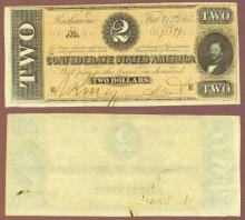 T-70 $2 1864 Confederate Currency