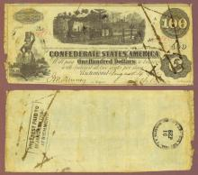 T-40 $100 1862 Confederate currency