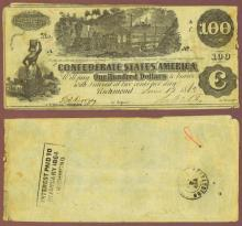 T-39 $100 1862 Confederate states currency
