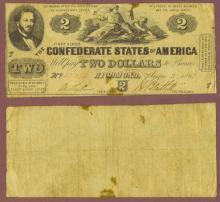 T-42 $2 1862 Confederate two dollar bill