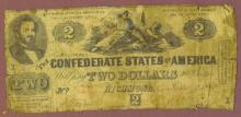 T-42 $2 1862 Confederate two dollar bill Civil war confederate currency