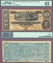 T-68 $10 1864 Confederate Currency civil war