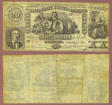T-20 $20 1861 Confederate currency