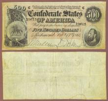 T-64 $500 1864 Confederate note Stonewall Jackson