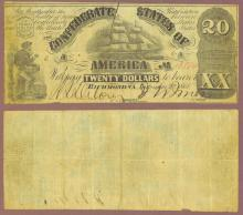 T-18 $20 1861 Confederate States of America currency