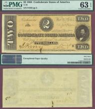 T-70 $2 1864 Confederate states currency, paper money
