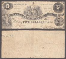 T-36 $5 1861 Confederate collectable paper money