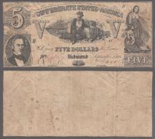 T-37 $5 1861 Confederate collectable paper money