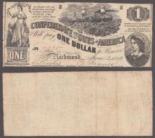 T-44 $1 1862 Cofederate States collectable paper money