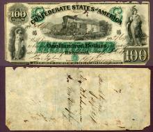 T-5 $100 1861 Collectable Confederate paper money