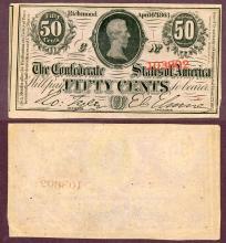 T-63 50 Cents 1863 Jefferson Davis Collectable confederate paper money civil war