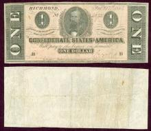 T-71 $1 1864 collectable confederate paper money