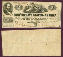 T-42 $2 1862 collectable confederate paper money