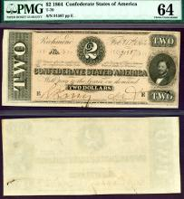 T-70 $2 1864 Collectable Confederate States of America paper money