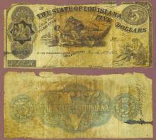 Louisiana 1863 - $5.00 obsolete civil war currency