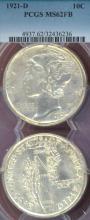 1921-D 10c US Mercury head silver dime