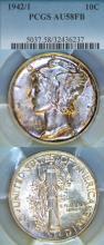 1942 42 over 41 Overdate10c US silver Mercury dime
