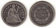 1852-O 10c US seated liberty silver dime