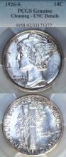 1926-S 10c US Mercury silver dime PCGS Unc