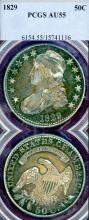 1829 50c US Capped Bust silver half dollar PCGS AU 55