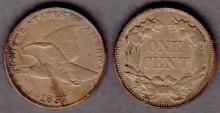 1857 1c US flying eagle cent