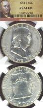 1954-S 50c FBL US Franklin silver half dollar