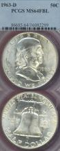 1963-D 50c US Franklin silver half dollar PCGS MS 64 FBL
