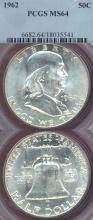 1962 50c US Franklin silver half dollar PCGS MS 64
