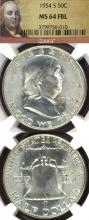 1954-S 50c US Franklin silver half dollar NGC MS 64 FBL