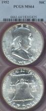 1952 50c US Franklin silver half dollar PCGS MS 64