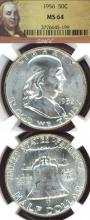 1956 50c US Franklin silver half dollar NGC MS-64
