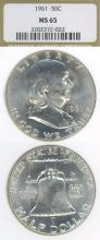 1961 50c  US Franklin silver half dollar