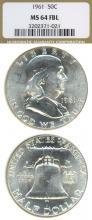 1961 50c FBL US Franklin silver half dollar
