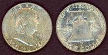 1950-D 50c US Franklin silver half dollar