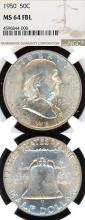 1950 50c US Franklin silver half dollar NGC MS 64 FBL