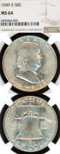 1949-S 50c US Franklin silver half dollar NGC MS 64