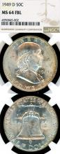 1949-D 50c US Franklin silver half dollar NGC MS 64 FBL