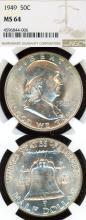 1949 50c US Franklin silver half dollar NGC MS 64