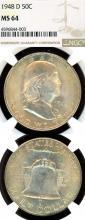 1948-D 50c US Franklin silver half dollar NGC MS 64