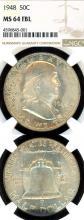 1948 50c US Franklin silver half dollar NGC MS 64 FBL
