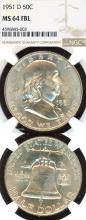 1951-D 50c FBL US Franklin silver half dollar NGC 64 FBL