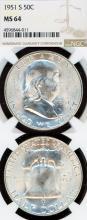 1951-S 50c US Franklin silver half dollar NGC MS 65